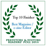 Quantum Muse, 4th place in Predator and Editors poll of best webzine/editor.